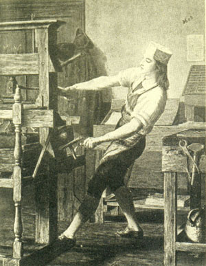 Ben Benjamin Franklin working on printing press illustration.
