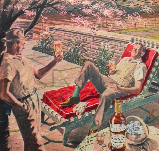 vintage illustration two men drinking cocktails on patio