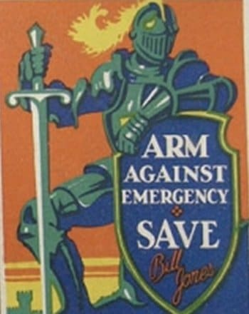 vintage personal finance money poster arm against emergency and save