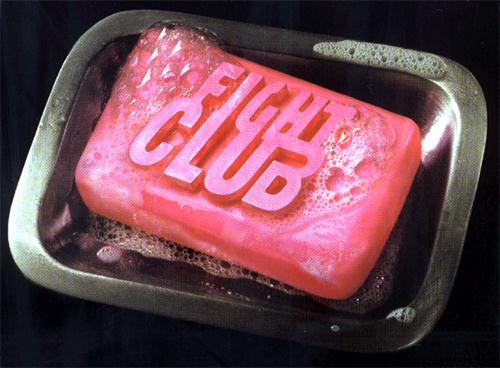 A soap bar by fight club in steel tray.