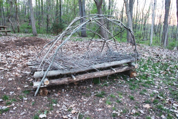 survival shelter branches laid in dome framework