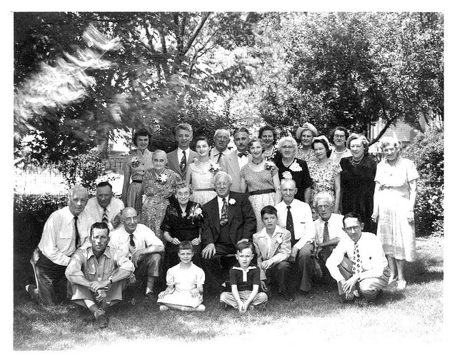 vintage family photo large gathering multiple generations