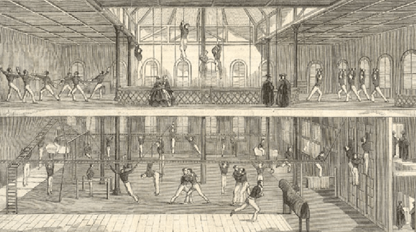 mid 1800s University of Oxford gym gymnasium.