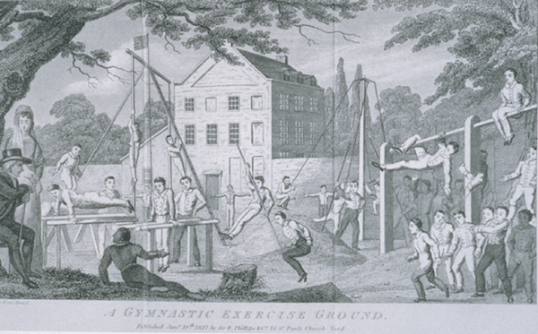 1800s outdoor gym gymnasium men climbing swinging