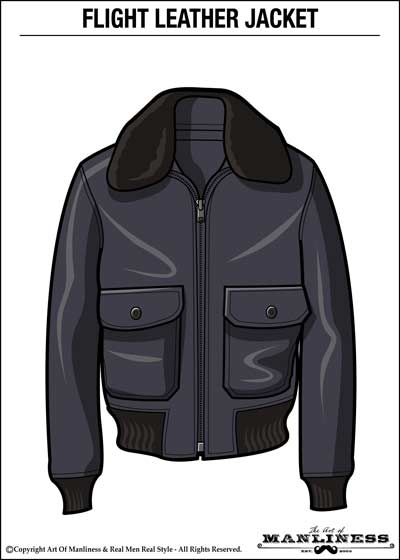leather flight bomber jacket illustration large fur collar