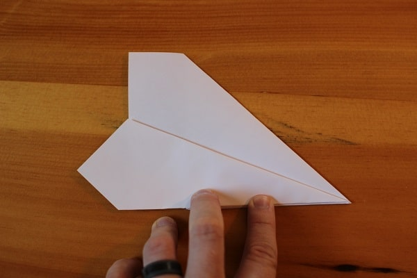 Step 7 — Fold wing down so it meets bottom edge.