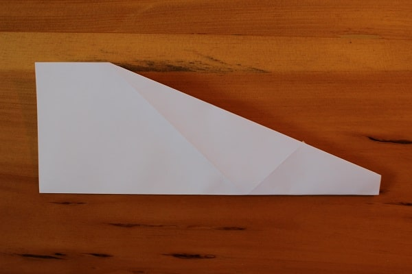 Fold paper airplane in half, in on itself.