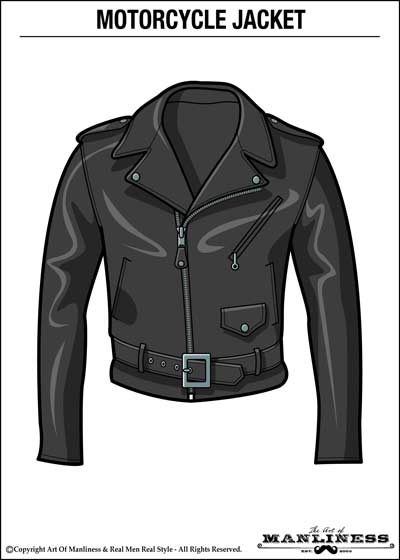 leather motorcycle double rider jacket illustration