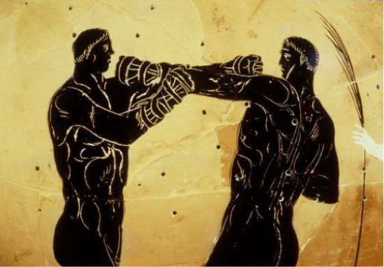 ancient greek artwork men boxing training