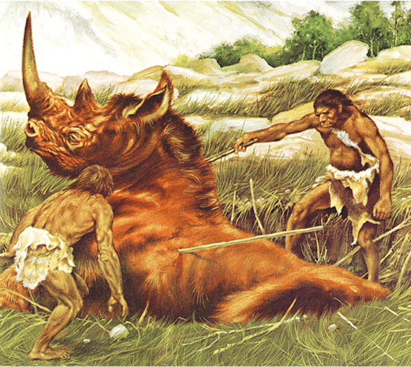 cavemen hunting giant rhino illustration