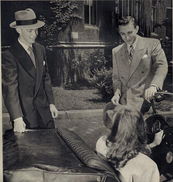vintage college men 1948 talking to woman in car