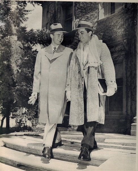 vintage college men 1948 wearing overcoats