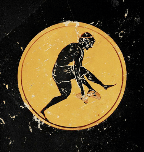 ancient greek artwork man throwing disc