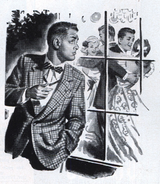 vintage illustration man looking into window of house party