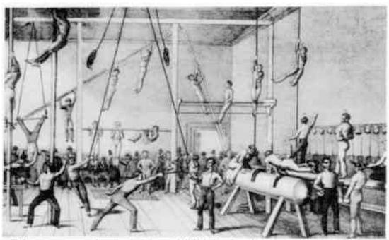 Men in gymnastics illustration.