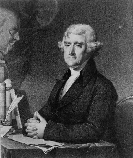 thomas jefferson painting illustration sitting at desk with books