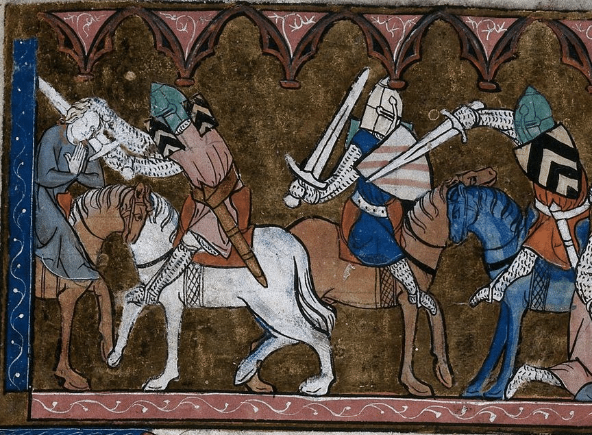 ancient christian art soldiers knights on horseback with swords
