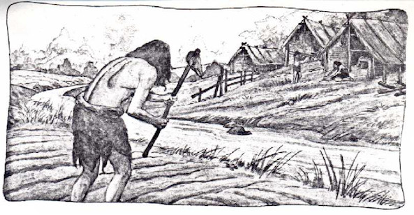 ancient man neolithic farmer illustration
