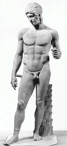 ancient greek sculpture naked man with muscular physique