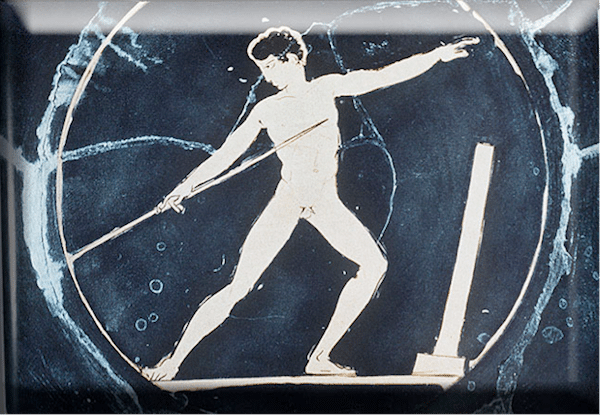 ancient greek artwork man throwing spear