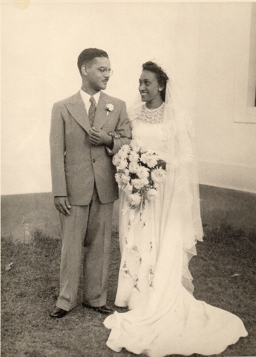 vintage african american black couple on wedding day