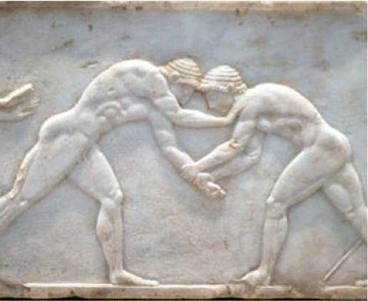 ancient greek marble engraving men wrestling grappling