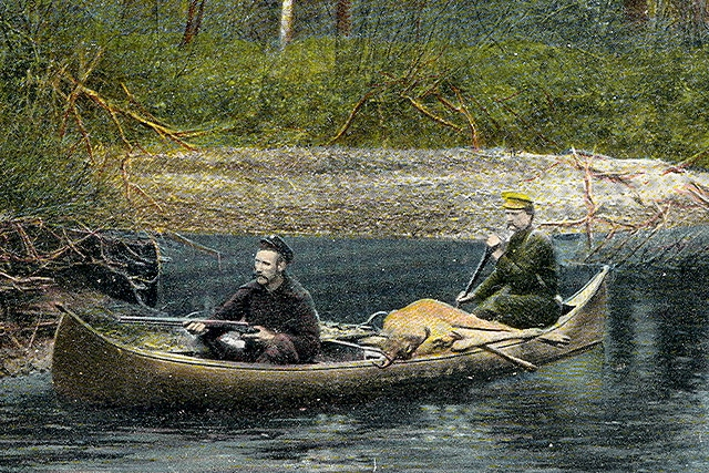 vintage illustration hunters in canoe deer in boat