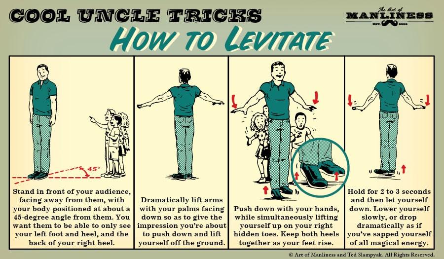 how to levitate magic trick illustration diagram