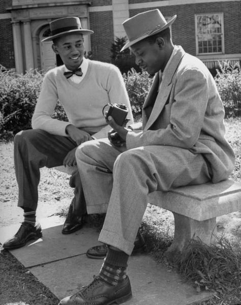 two african american black dapper students dandies at college