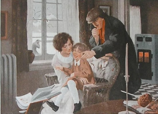 Painting family inside keeping warm middle of winter.