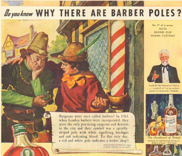 vintage barbershop illustration red white poles meaning
