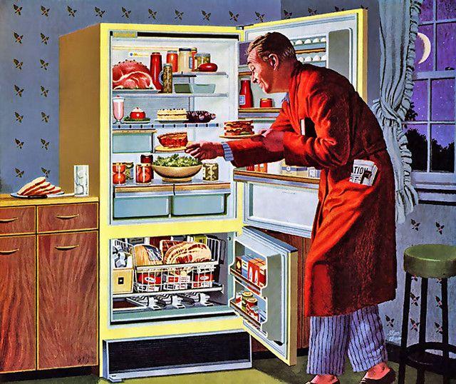 vintage painting illustration man in robe having midnight snack
