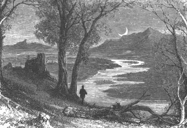 black white engraving solitary man standing along river nighttime