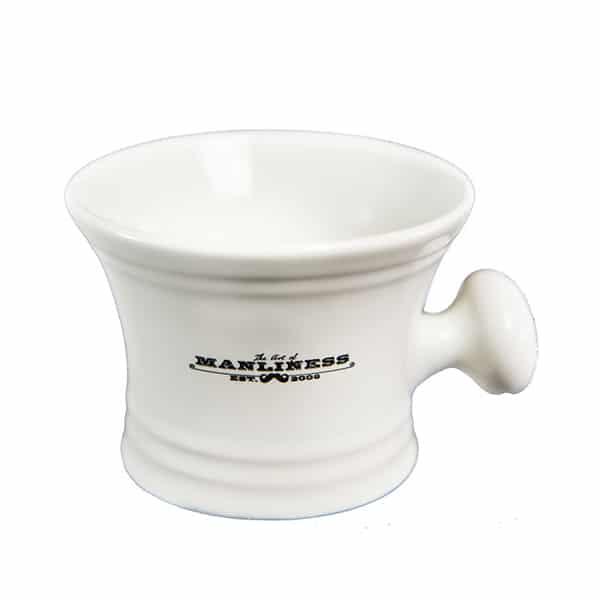 white shaving mug art of manliness