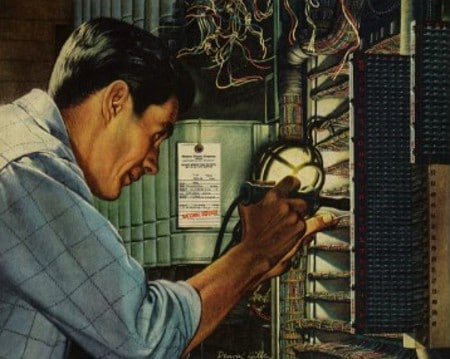 painting vintage electrician working on electrical panel