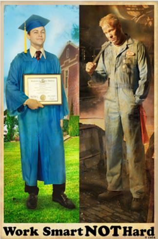A man holding degree and a labor on the right.