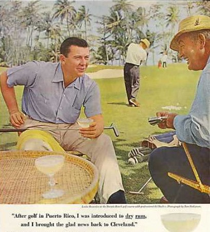 1950s ad advertisement for dry rum men playing golf