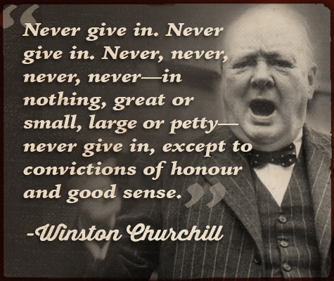 winston churchill quote never give in
