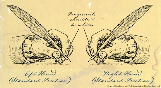 how to hold pen correctly hand with quill illustration