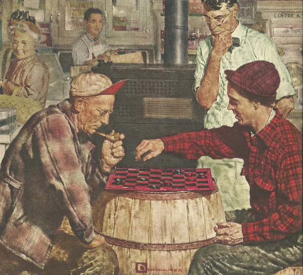 painting two men playing checkers on a barrel