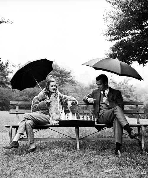 Couple playing Chess on Bench in Park.