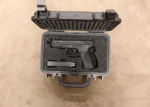 My Smith and Wesson M&P 9mm in my Pelican case.