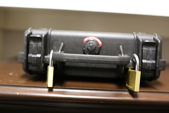 pelican gun case safe locked with master locks