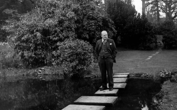 winston churchill taking walk walking across pond