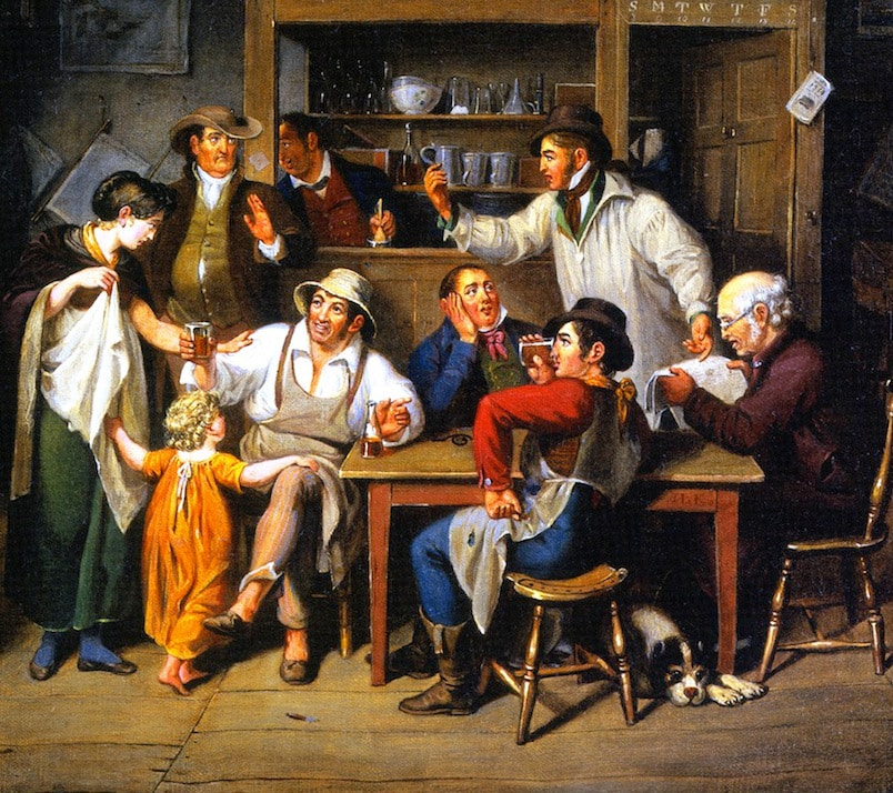 painting 1700s men drinking rum in house