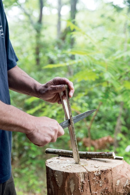 Split, Pare, and Whittle a Straight Section of Branch or Sapling Stock for Skewers.
