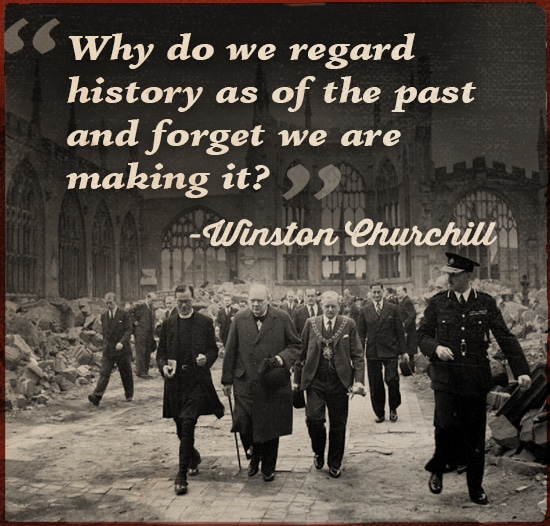 Quote by Winston Churchill walking on the road with peoples.