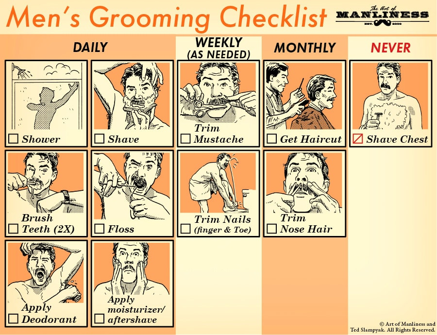 men's grooming checklist shaving flossing trimming hair