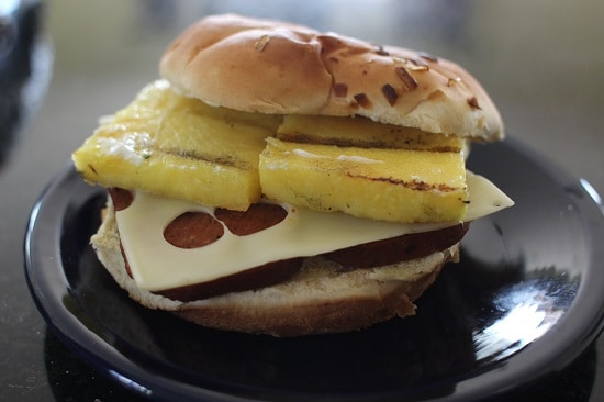 spam burger with pineapple mozzarella cheese hawaiian
