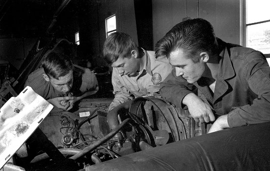 Vintage Shop class auto maintenance Mechanics.